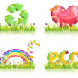 Eco Abstract Background Icon Set Vector — Stock Vector
