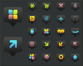 чистые векторные иконки установить 02 темная версия — Cтоковый вектор