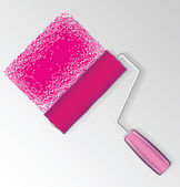 Pink paint roller — Stock Vector