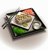 Vector sushi plate set — Stock Vector