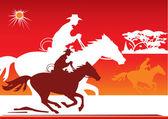 Cowboy, horse, sun — Stock Vector