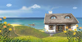 The sunny day. The snug house on a seaside. — Stock Photo
