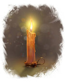 The illustration with burning candle on a dark background. — Stock Photo