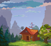 The magic peasant's log hut-laboratory in a nice nature place. — Stock Photo