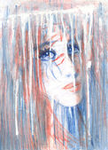 Rain. The look. The drawing with a romantic girl with big blue eyes. — Stock Photo