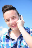 Teenager talkin on cell — Stock Photo