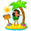 Hula girl — Stock Vector