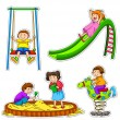 Stock Vector: Playing kids