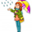 Girl in the rain — Stock Vector