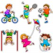 Stock Vector: Active kids