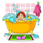 Kid in the bath — Stock Vector