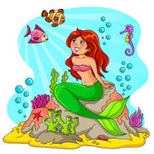 Mermaid and friends — Stock Vector