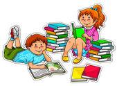 Reading kids — Stock Vector
