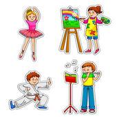 Kids with hobbies — Stock Vector