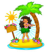 Hula girl — Vector de stock