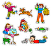 Kids and pets — Stock Vector