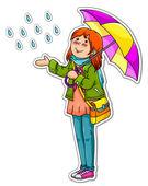 Girl in the rain — Stock Vector
