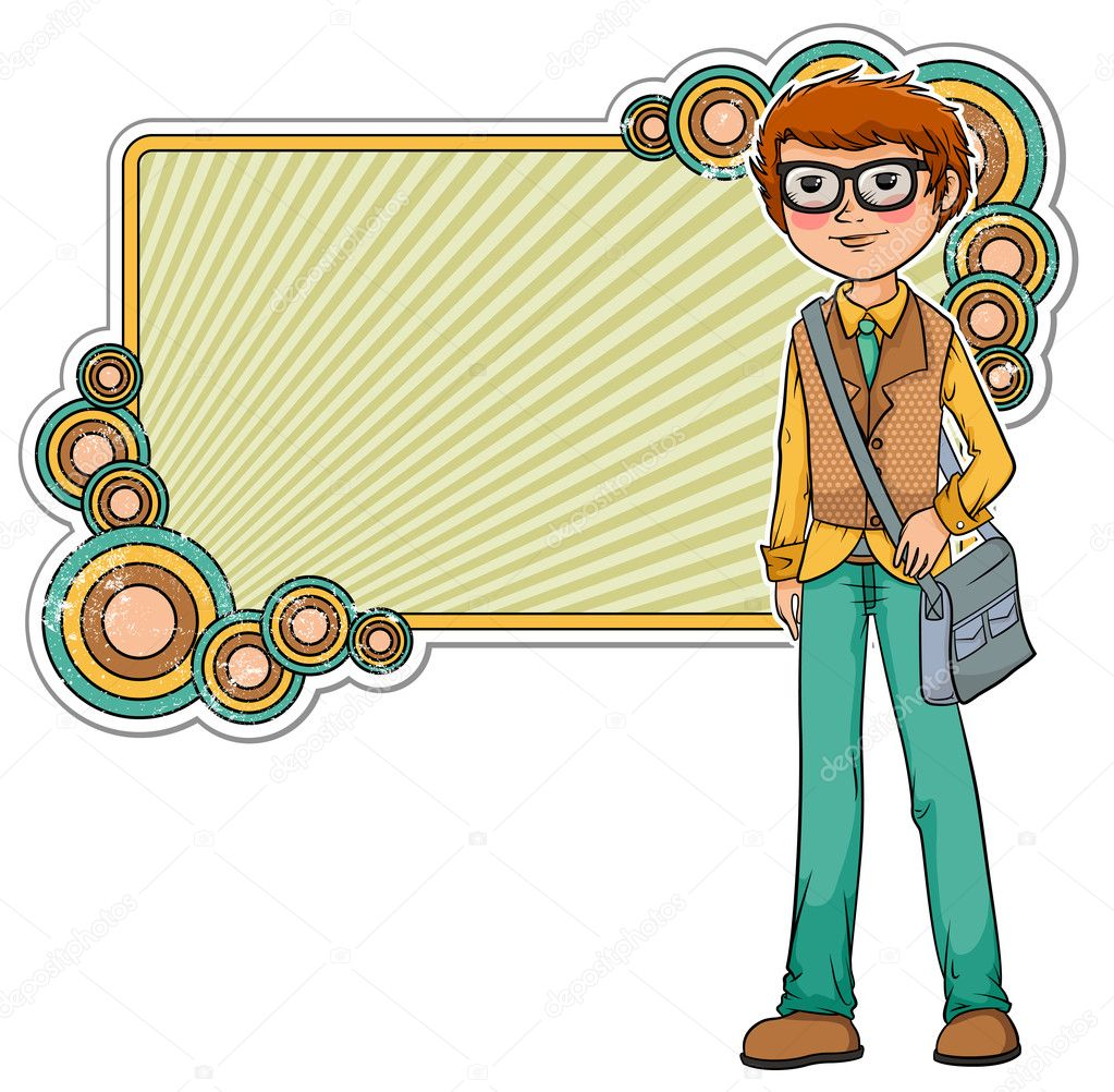 Cartoon geek on a retro style frame   Imagens vectoriais em stock #11418874