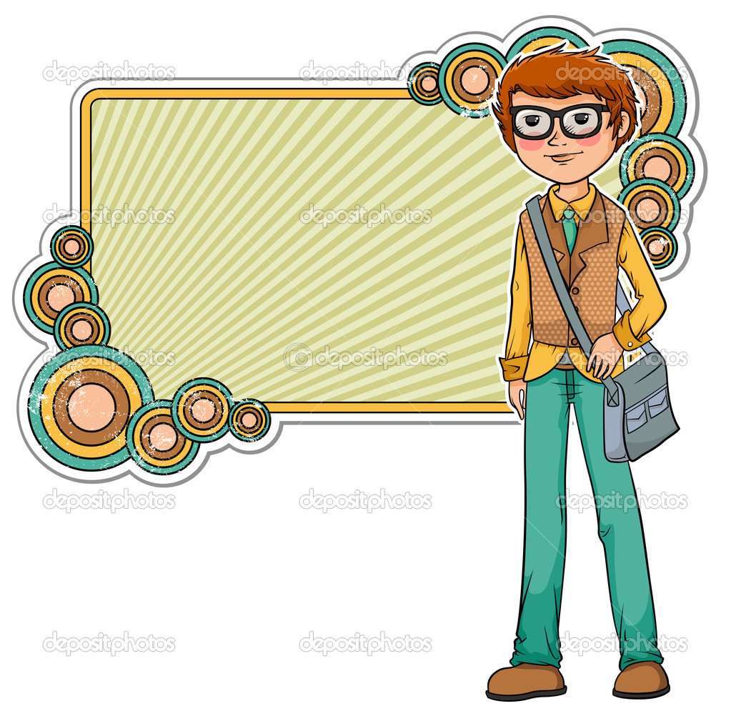 Cartoon geek on a retro style frame  — Image vectorielle #11418874