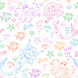 Seamless pattern with doodles of mermaids and other sea creatures — Stock Vector #11459000