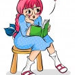 flicka som läser en bok — Stockvektor