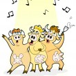 Singing cows — Stock Vector