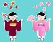 Cute japanese girls — Stock Vector
