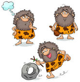 Set of three cartoon cavemen — Stock Vector