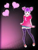十几岁的女孩 — 图库矢量图片