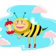 Stock Vector: Funny honey bee