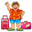 Stock Vector: Happy tourist
