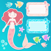 Mermaid set — Stock Vector