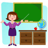 Teacher in the classroom — Stock Vector