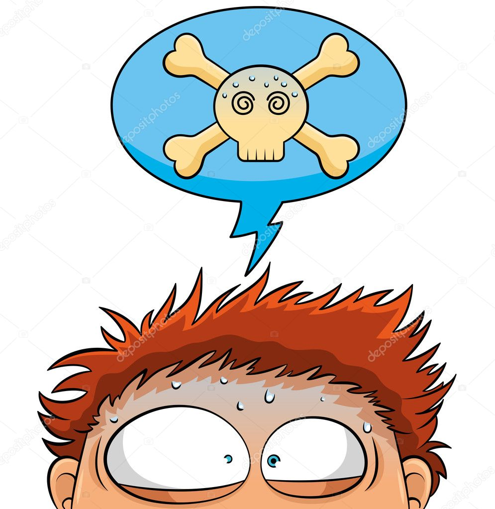 Nervous person with a crossbones skull over his head — Stock Vector #11860887