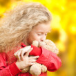 Stock Photo: Beautiful little girl with teddy bear