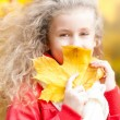 Beautiful little girl with maple leaf. — Stock Photo