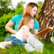 Постер, плакат: Mother reading book to her daughter