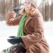 Winter portrait of young woman - Stock Photo
