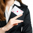 Ace of hearts on woman hand — Stock Photo