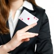 Stock Photo: Ace of hearts on womhand