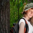 Young woman backpacker - Stock Photo