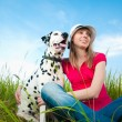 Stock Photo: Young womwith her dog pet