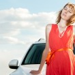 Beautiful young woman and car. — Stock Photo
