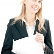 Business woman with pencil and paper — Stock Photo