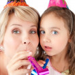 Mother and daughter celebrating — Stock Photo