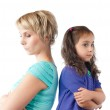 Sad mother and daughter back to back — Stock Photo