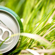Aluminum can in grass — Stock Photo