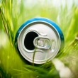 Aluminum can in grass — Stock Photo #11438957