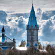 Beautiful church with cloudy sky in background - Stock Photo