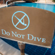 Stock Photo: Do not dive sign